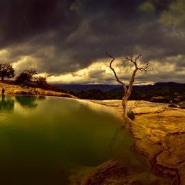 Hierve el Agua by Cristobal Garciaferro Rubio - Landscapes Travel ( clouds, hierve el agua, mexico, oaxaca, reflections, sunrise )