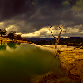 Hierve el Agua by Cristobal Garciaferro Rubio - Landscapes Travel ( clouds, hierve el agua, mexico, oaxaca, reflections, sunrise )