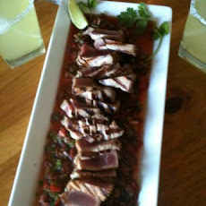 Seared Ahi Tuna Sea Steak over Mexi-Asian Salsa