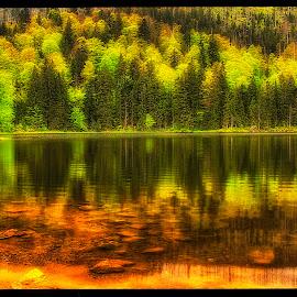 lake by Petr Klingr - Landscapes Waterscapes ( böhmerwald. autumn hdr šumava )