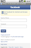 Screenshot of Proxy browser for Facebook wap