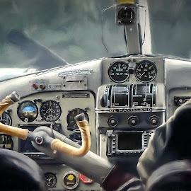 Old Dehaviland cockpit by Barb Hauxwell - Transportation Airplanes ( cockpit, plane, pilot, alaska, dehaviland )