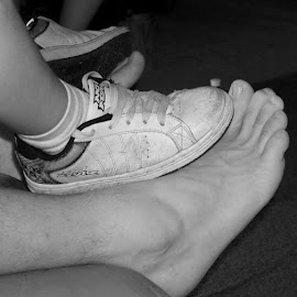 Shoes and Feet by Fiona Rob - Babies & Children Hands & Feet ( shoes, laces, black and white, feet,  )