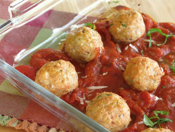 Baked Chicken Parmesan Meatballs Recipe | Yummly