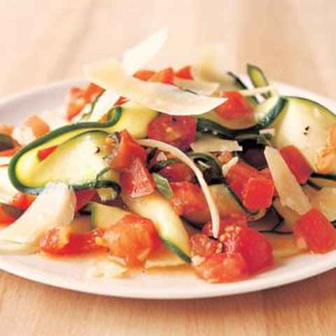 "Zucchini ""Pasta"" with Fresh Tomato Sauce"