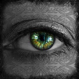 Hypnotic Visions by Elizabeth Burton - Digital Art People ( patterns, selective color, black and white, eyelashes, green, beautiful, dark, hazel, hypnotic, wicked, visions, eye, pwc )