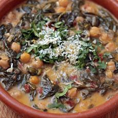 Braised Coconut Spinach with Chickpeas and Lemon