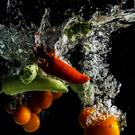 Vegetables by Stefan Stevanovic - Food & Drink Fruits & Vegetables ( red, tomato, splash, green, vegetables,  )