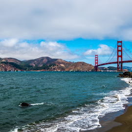 Outside the Gate by Mark Cote - Landscapes Waterscapes ( golden gate bridge, sail boats, china beach, beach, san francisco )
