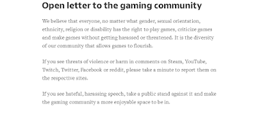 Over 2000 developers sign an open letter calling for the community to take a stand against harassment