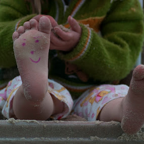 Happy Foot by Ruth Holt - Babies & Children Hands & Feet ( playing, face, foot, smiley, play, feet, fun, smile,  )