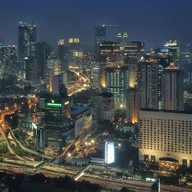 skl #s05 by Tt Sherman - City,  Street & Park  Skylines ( night photography, indonesia, jakarta, cityscape, nightscape )