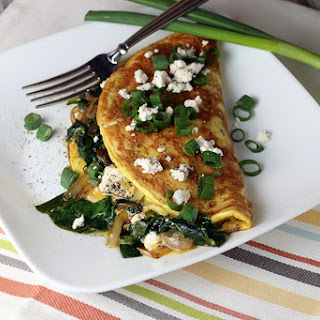 Spinach, Onion, and Goat Cheese Omelette
