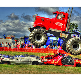 Monster Truck taking flight in HDR by Colin Waite - Transportation Automobiles ( truck show monster grass fly )