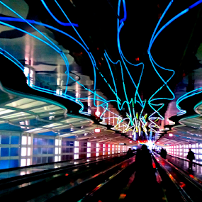 Chicago O'Hare C Concourse by Brianne Cronenwett - Instagram & Mobile Android ( lights, airport, neon lights, color, neon, colors, silhouettes, walkway, chicago, rainbow, ohare, shadows, , mood factory, lighting, moods, colorful, light, bulbs, mood-lites )