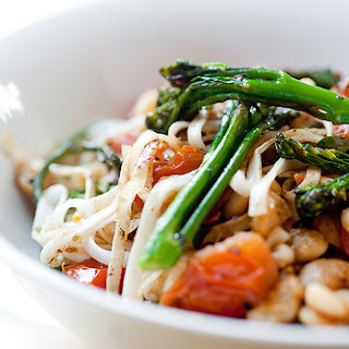 Broccolini, Cherry Tomato and Butter Bean Udon