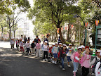 Children on a field trip to see the cherry blossoms at Ueno Park. We saw several of these groups, each with different color-coded hats. (Tokyo)