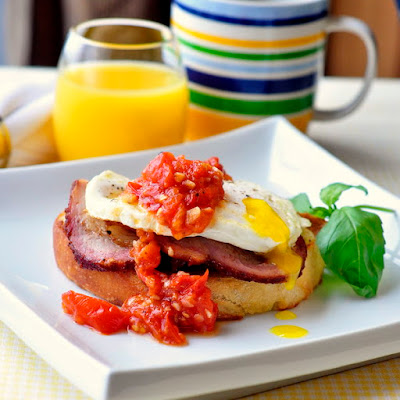 Open Faced Smoked Pork Breakfast Sandwich