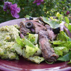 Balsamic Skirt Steak, Fresh Greens, Pea & White Bean Puree