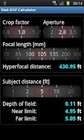 Screenshot of Vink DOF Calculator Lite