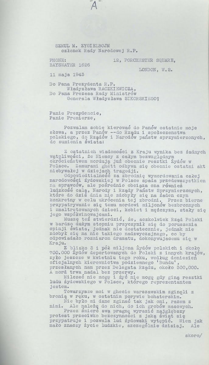 Szmul Zygielbojm's farewell letter, May 11, 1943