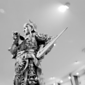 Pewter Warrior with a Sword by Matt Dittsworth - Artistic Objects Still Life ( warrior, statue, orient, toy, stand, fight, pewter, fighter, sword )