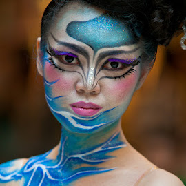 Miss Lightning Blue by Loke Inkid - People Body Art/Tattoos ( body, model, female, makeup, art,  )