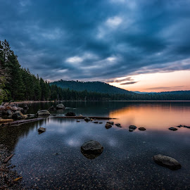 Dawn's Early Light by Mark Cote - Landscapes Waterscapes ( reflections, long exposure, sunrise, fallen leaf lake, lake tahoe,  )