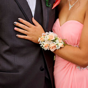 Prom by Angel Solomon Caracciolo - People Couples ( formal, peach, prom, gray, corsage, flower, bouquet )