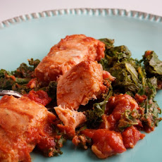 Baked Salmon and Kale in Moroccan-Spiced Tomato Sauce