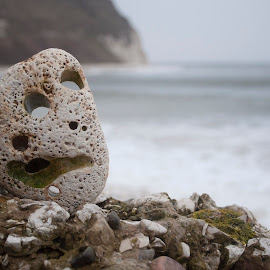 Scared at Flamborough by Ruth Holt - Novices Only Landscapes ( bay, worried, flamborough, scared, sea, beach, stones )