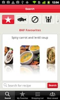 Screenshot of BHF Healthy Recipe Finder