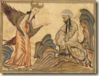 Mohammed and Gabriel - Miniature illustration on vellum from the book Jami' al-Tawarikh