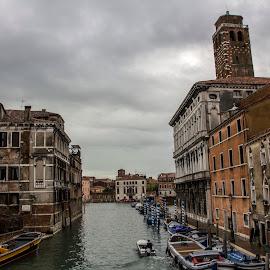 Venice by Filip Kvakic - City,  Street & Park  Street Scenes ( water, building, sky, boats, venice, channel, italy )