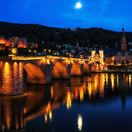 Heidelberg Night view by Aaron Choi - Buildings & Architecture Public & Historical ( reflection, moon, europe, german, lake, nightscape, neckar, european, heidelberg, night, castle, germany, bridge, view, river )