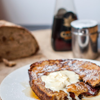 French Toast Stuffed With Caramelised Banana And Bacon