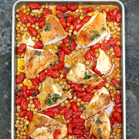 Smoky Roasted Chicken Breasts with Tomatoes and Chickpeas
