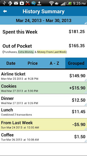 My Weekly Budget - screenshot