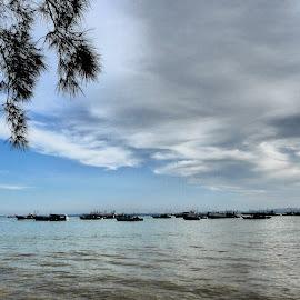 Anchored by Azhar Aziz - Transportation Boats ( boats, fishing, tawau, sabah, borneo )