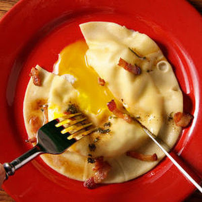 Egg Yolk Ravioli (Uova da Raviolo) with Bacon-Sage Sauce Recipe from Chow.com
