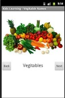 Screenshot of Kids Learning Vegetable Names