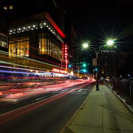 Saturday Night Lights by Ron Phillips - City,  Street & Park  Street Scenes ( traffic, night photography, boston, street, light trails, long exposure )
