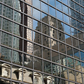 Reflection  by Rose Knott - Buildings & Architecture Office Buildings & Hotels ( building reflection squares lines )