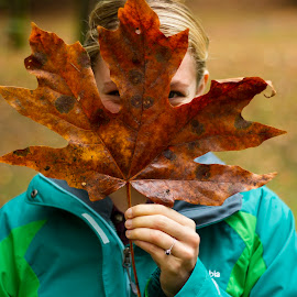 Leafy by Matt Goodwin - People Portraits of Women ( girl, autumn, fall, leaf, smile, color, colorful, nature )