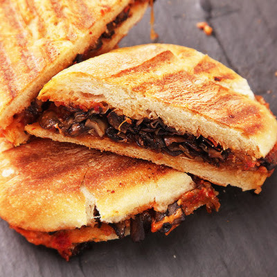 Vegan Caramelized Onion and Mushroom Panini With Sun-Dried Tomato Mayonnaise