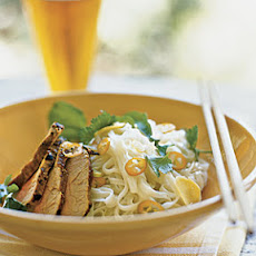 Curried Pork over Rice Noodles with Lime and Coconut