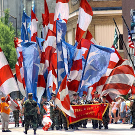 Indy 500 Festival Parade 1 by Oscar Salinas - News & Events Entertainment ( army, flags, people )