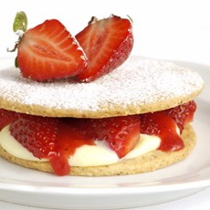 Strawberry-Hazelnut Shortcakes with Strawberry Puree