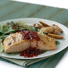 Mustard-Roasted Salmon with Lingonberry Sauce