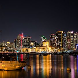 San Diego Harbor by CJ Thomas - City,  Street & Park  Skylines ( san diego skyline, color, night, sailboat, nikon )